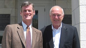 Biloxi mayor A.J. Holloway (right) with John Bruce, chair of the Department of Political Science.